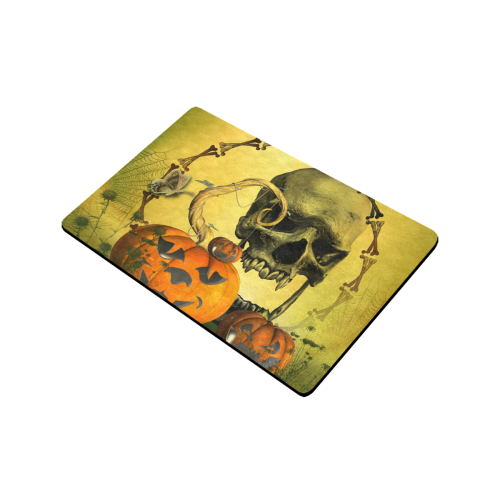 "Halloween, funny pumpkins with skull Doormat 24""x16"" (Black Base)"