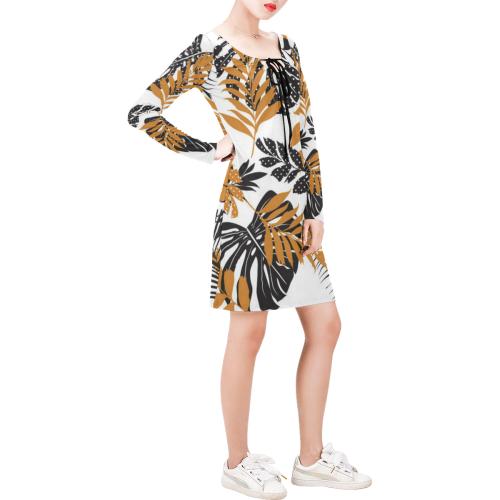 Monstera Leaves Tropical Leaves Long Sleeve String Tie Dress (Model D54)