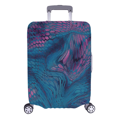 """midnight dragon reptile scales pattern in dark blue and purple Luggage Cover/Large 26""""-28"""""""