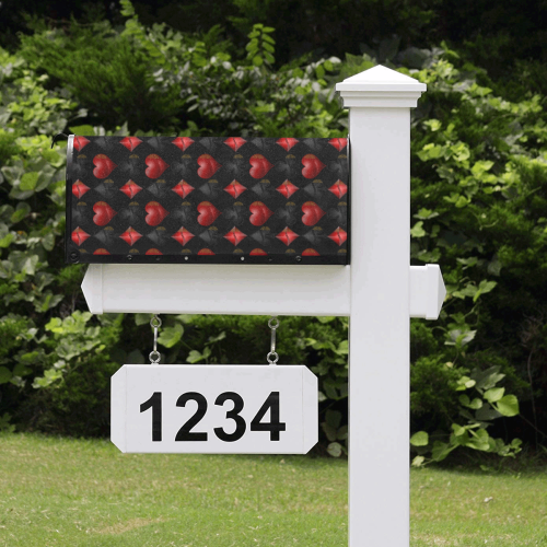 Las Vegas Black and Red Casino Poker Card Shapes on Black Mailbox Cover