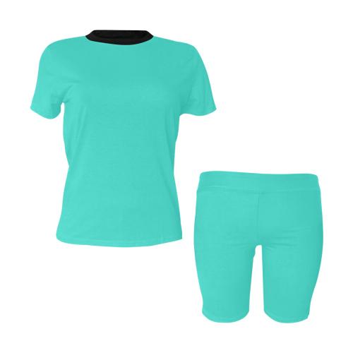 color turquoise Women's Short Yoga Set (Sets 03)