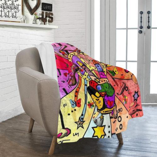 """Peace Popart by Nico Bielow Ultra-Soft Micro Fleece Blanket 40""""x50"""""""