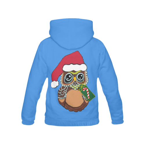 Christmas Owl Blue All Over Print Hoodie (for Women)