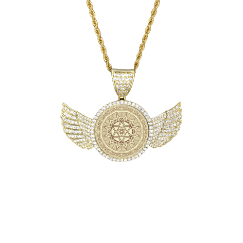 mandala 3D-19 Wings Gold Photo Pendant with Rope Chain