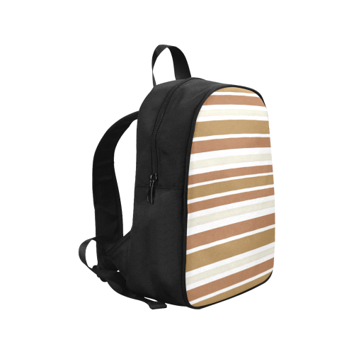 Gold Sienna Stripes Fabric School Backpack (Model 1682) (Medium)