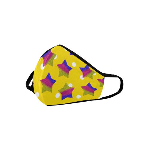 ombre glitter  star yellow dot pattern Mouth Mask