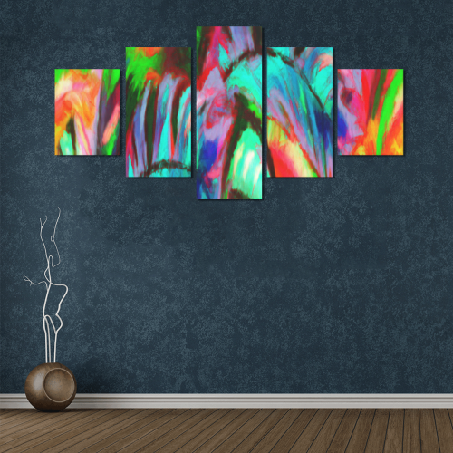 Abstract Rainbow Canvas Wall Art Z (5 pieces)